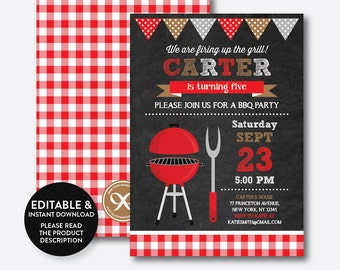 Instant Download, Editable BBQ Birthday Invitation, Barbeque Invitation, bbq invitation, bbq Party Invitation, Picnic, Chalkboard (CKB.75B)