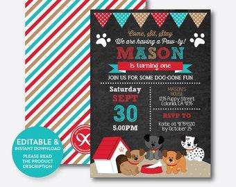 Instant Download, Editable Puppy Birthday Invitation, Dog Birthday Invitation, Dog Invitation, Puppy Invitation, Chalkboard (CKB.287B)