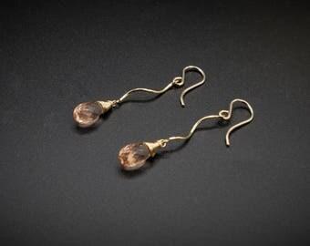 Champagne Quartz Earrings, Quartz Earrings, Quartz Jewelry, Champagne Earrings, Spiral Earrings, Twisted Earrings, Dainty Earrings