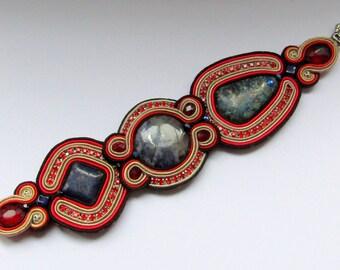 Soutache bracelet with zircons II