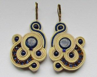 Soutache Earrings Cream - Navy Blue