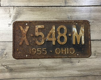 Vintage Ohio License Plate 1955 | Brown Rusty | Man Cave Decor | Old Collectible | For Him | Garage