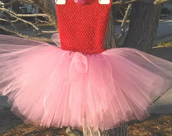 Pink and Red Tutu Dress MADE TO ORDER
