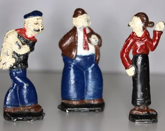 Popeye, Olive Oyl and Wimpy Lead Figurines