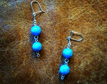 Turquoise and sterling silver wire earrings