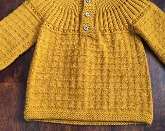 Hand knit woolike Baby Sweater/Cardigan with flower buttons