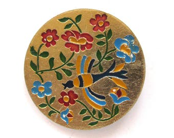 Bird in flowers, Badge, Rare Vintage collectible Pin, Soviet Union, Russian, Made in USSR, 1970s