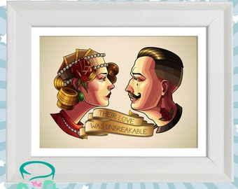 Their love was unbreakable - Neo traditional style tattoo original print in white wooden frame.