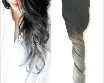 "18"" Full Head Clip in 70% Human Hair Extensions Straight Natural black to silver gray"