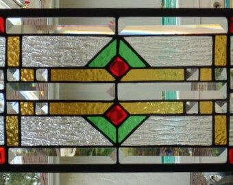 Stained Glass Window Hanging 27 1/2 X 9