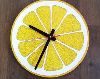 Citrus Wall Clock Silent Modern clock Food clock Lime Lemon Orange Grapefruit Hand Painted Glass Home Decor