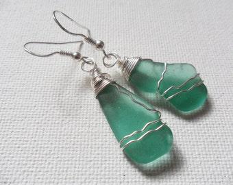 Dark seafoam sea glass dangle earrings with sterling silver ear wires