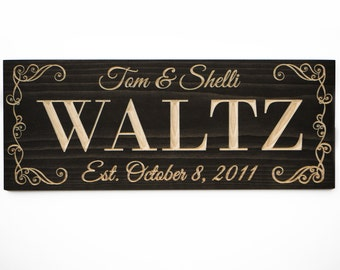 Family Name Sign, Last Name Sign, Personalized Gift, Gift for Bride, Wedding Gift, Family Established Sign, Wood Sign, Shower Gift, 11x29