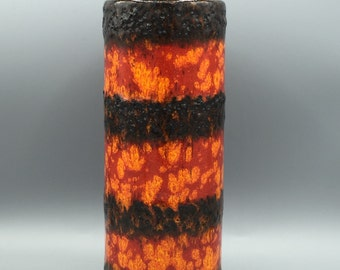 Scheurich  203  / 26 orange / black vintage Mid Century Modern Fat Lava  vase   from the 1970s , West Germany Pottery WGP.
