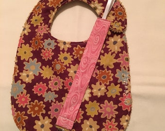 Coordinating Terry Cloth Bib and Pacifier Clip - dark purple with flowers