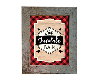 Hot Chocolate Bar Sign, Lumberjack theme /  INSTANT DOWNLOAD / Hot Cocoa Party / Printable, Digital, Rustic, Woodland