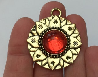 1 Red Lotus Flower Pendant Antique Gold - PEN05