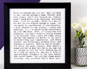 Style Print; Loves Fashion Gift; Fashion Lovers Gift; Gift For Girlfriend; Gift For Friend; Friendship Gift; AP030