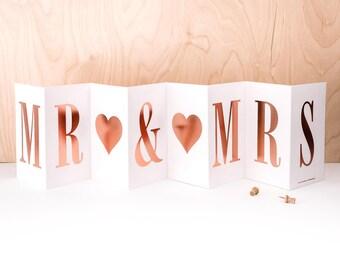 Mr & Mrs Concertina Card; Gold Foil Wedding Card; Wedding Banner Card; Banner Engagement Card; Banner Anniversary Card; Mr And Mrs; CC017