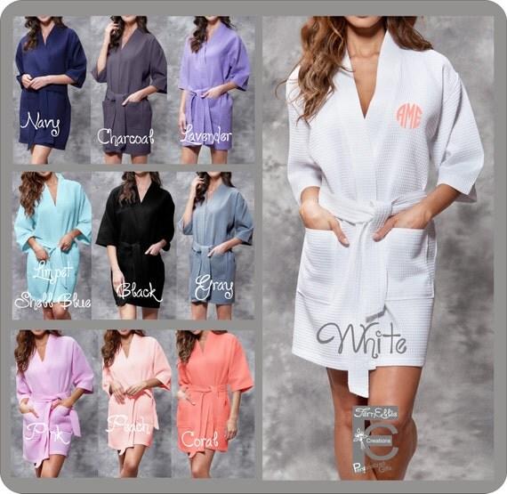 Waffle Kimono Robe, Spa Robe, Hotel Robe, Bride Bridesmaid Spa Day, Weeding day, Bridal Party Gift, Getting Ready Robes, Monogrammed Robe.