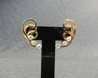 Authentic Sarah Coventry 1955 Celestial Fire Gold Tone and Clear Rhinestone Clip Earrings - Goldtone, Retro, Vintage, Designer Signed, MCM