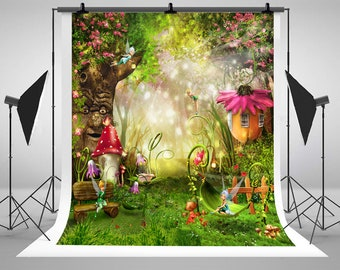 Fantasy Cartoon Fairy Tale Forest Photography Backdrops Flowers Grass Trees Photo Backgrounds for Children Studio Props