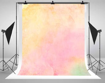 Soft Pink and Yellow Watercolor Wallpaper Photography Backdrops No Wrinkles Photo Backgrounds for Children Studio Props