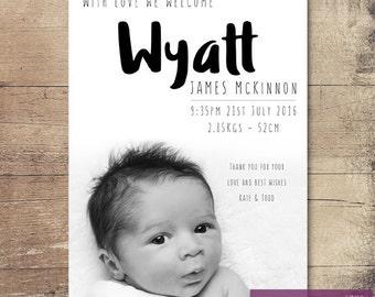 Printable Black Ink Birth Announcement / Customisable Digital File / JPG or PDF / Black & White