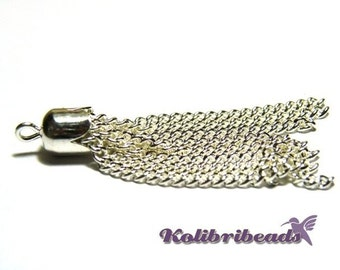 Classic Silver Plated Chain Tassles 7 mm x 40 mm (5 pc.)