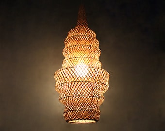 Bamboo Tower Pendant lights-Decorative Bamboo Lighting-Bamboo Lamp Fixtures-Home Decorative Lamps-Bamboo crafts-Hallway Lamps-Droplamps