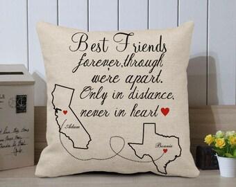 Best Friend Pillow Cover Long Distance Best Friend Cushion Cover State to State Pillow & Best friend pillow | Etsy pillowsntoast.com