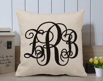 Monogram Pillow Cover - Personalized Pillow Cover - Initials Pillow Case - Cushion Cover Initial - Name Pillow - Monogrammed - Name Gift
