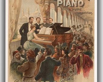 The Sohmer Piano (Sohmer & Co. New York). Vintage Advertising Canvas. (04039)