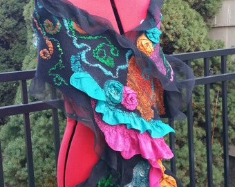 Nuno Felted Shawl in Black With Vibrant Multi Colors. Ladies Ruffle Evening Wrap with 3D Silk Roses. Shabby Chic Felted Scarf. Wearable Art.