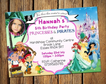 Kids Birthday Personalised Party Invitations Girls Pirates & Princesses