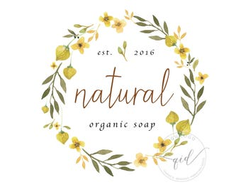 Premade organic soap logo, Essential oils, Natural beauty product branding, Eco cosmetic marketing, Spa business card images