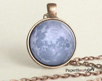 Blue Moon Necklace -  Blue Moon - Copper - Moon Necklace -  Blue Moon Charm - (B2021)