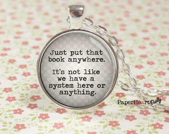 Librarian Necklace - Librarian Gift - Librarian - Quote Necklace -  (B4777)