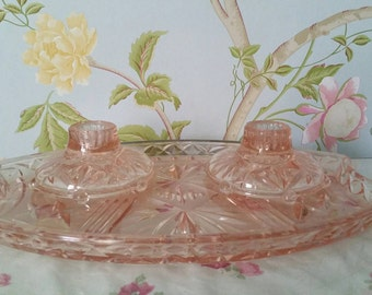 Vintage 70's Cut Glass Pink Candle Holders and Decorative Tray, Shabby Chic, Art Deco
