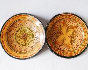 Yellow Hand-painted Moroccan Ceramic Serving Dish-Yellow Plat Marocain-Sun