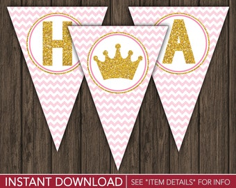 Princess Happy Birthday Banner - Pink and Gold Party Decorations - Printable Digital File - INSTANT DOWNLOAD