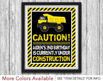 """Construction Party Sign - Printable Construction Birthday Party Decorations - 8""""x10"""" Welcome Sign - DIY Digital File"""