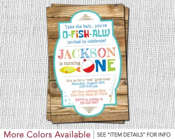 Fishing Birthday Invitation - Fishing First Birthday Invitation