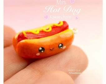 "Hot Dog Kawaii Charms Polymer Clay Miniature Food Jewelry Pendant Necklace Handmade  Gift Girl 16"" Sterling Silver Necklace"