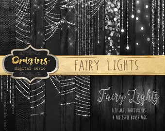 Fairy Lights Clipart, Digital Paper, Bokeh String Lights Clip Art, Wedding Photography Overlays, Christmas Lights, Photoshop Brushes