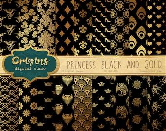 Black and Gold Princess Digital Paper, digital scrapbook paper, gold metallic fantasy patterns, royal damask crowns unicorns