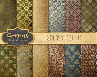 Gold Celtic Digital Paper, medieval fantasy gold foil digital backgrounds, printable scrapbook paper, irish gold crests, royal patterns