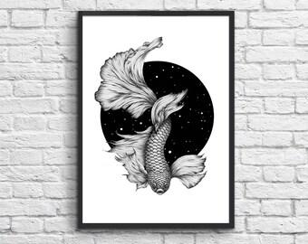 Affiche animal etsy for Koi larousse