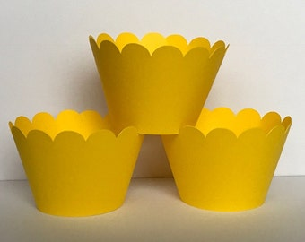 Solid Yellow Cupcake Wrappers, Party decorations, cupcake holders, party supplies, cupcake wraps, cupcake sleeves, paper goods, festive