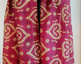Vintage Indian pure silk  long scarf Asian Decorative Patterns- Hand rolled - gold and purple